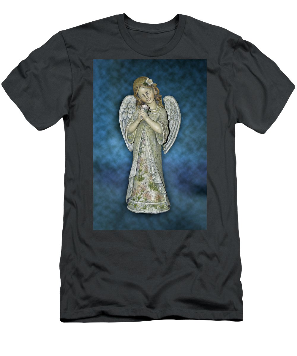 Angel Men's T-Shirt (Athletic Fit) featuring the photograph Angel Statue by Thomas Woolworth