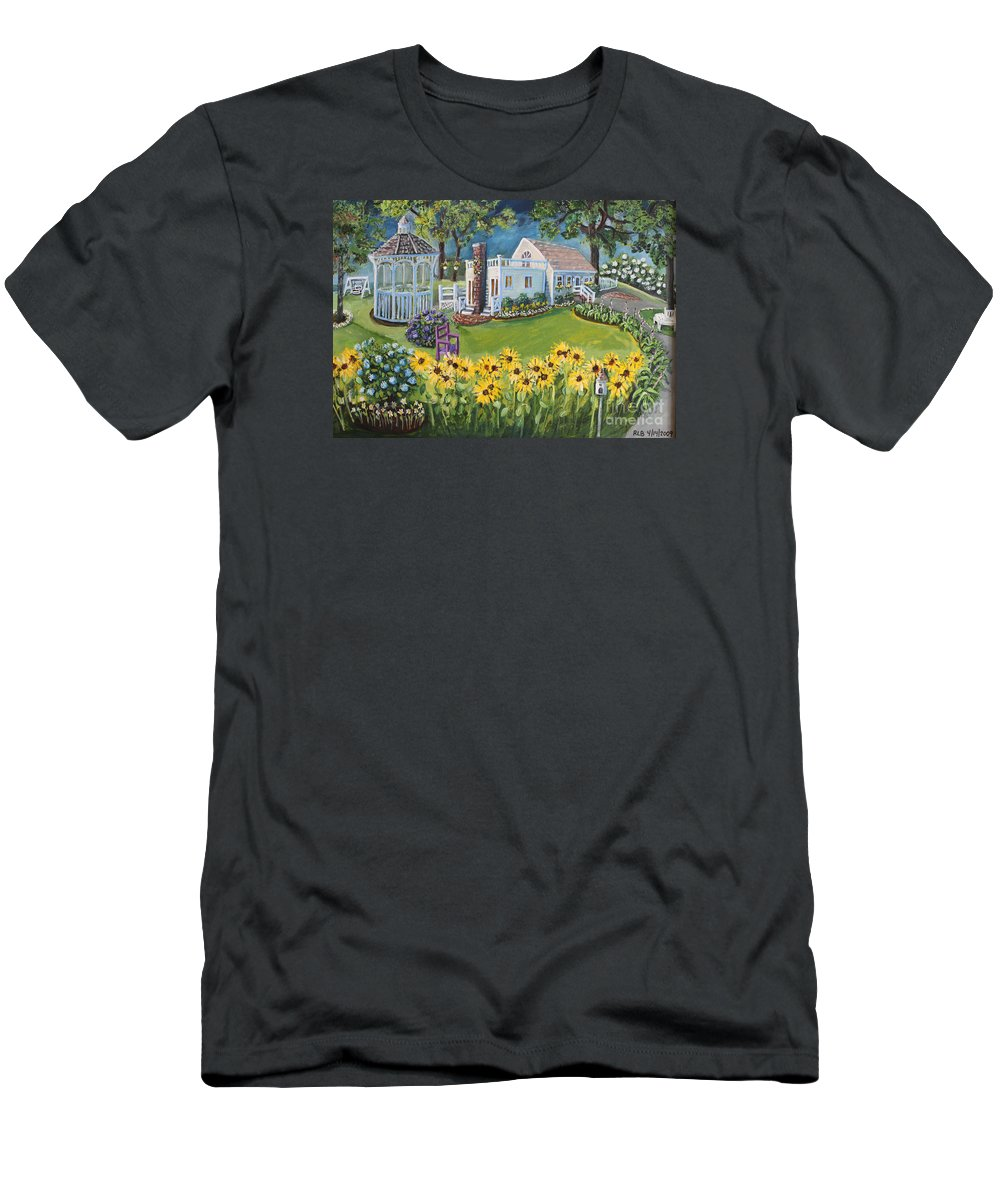 Cottage Men's T-Shirt (Athletic Fit) featuring the painting Annie's Summer Cottage by Rita Brown