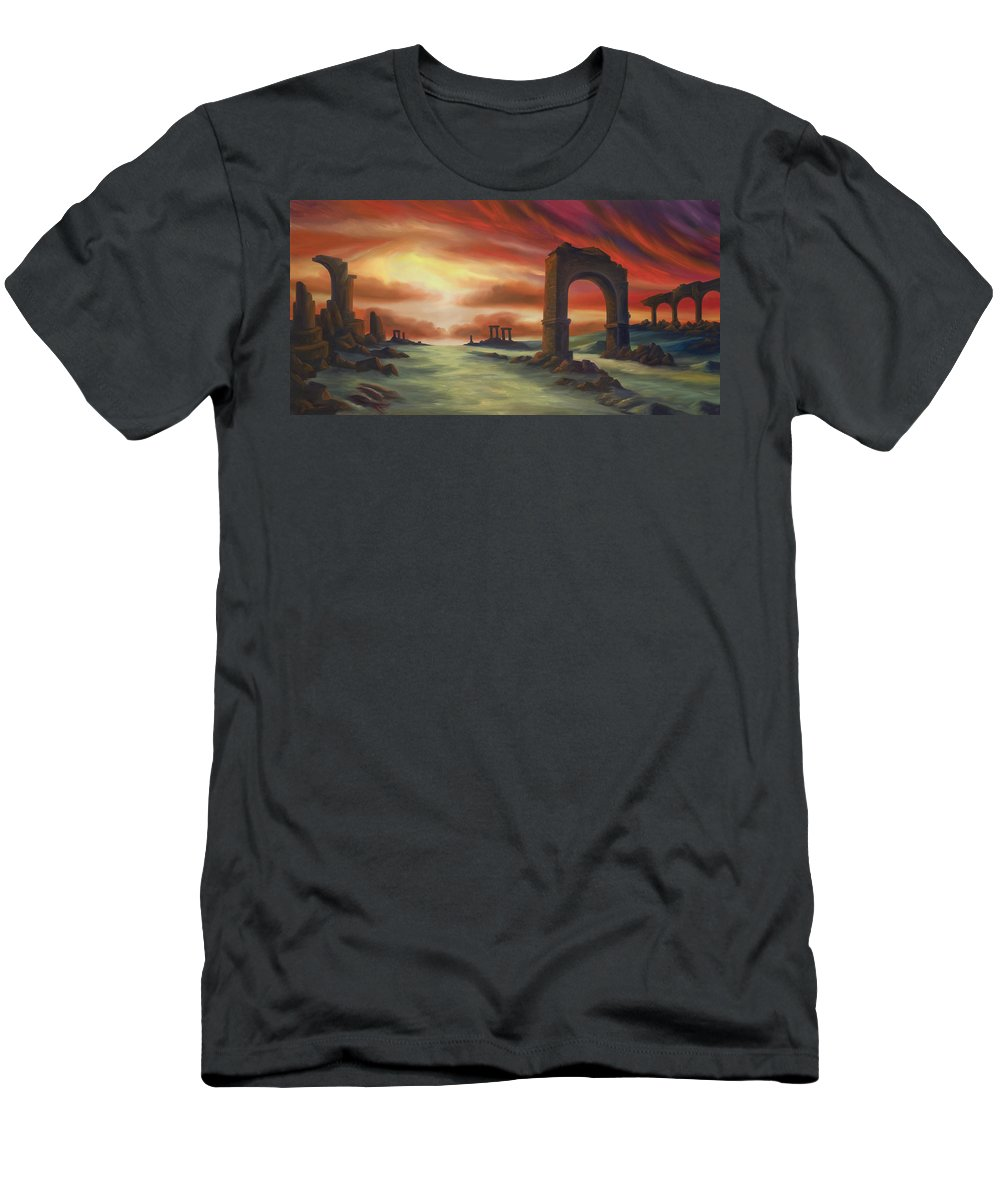 Sunset Men's T-Shirt (Athletic Fit) featuring the painting Another Fallen Empire by James Christopher Hill