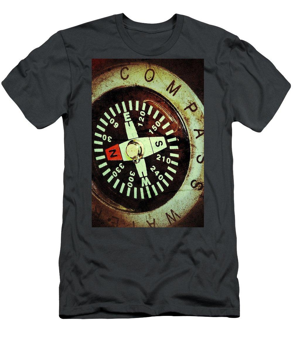 Antique Compass Men's T-Shirt (Athletic Fit) featuring the photograph Antique Compass by Bill Owen