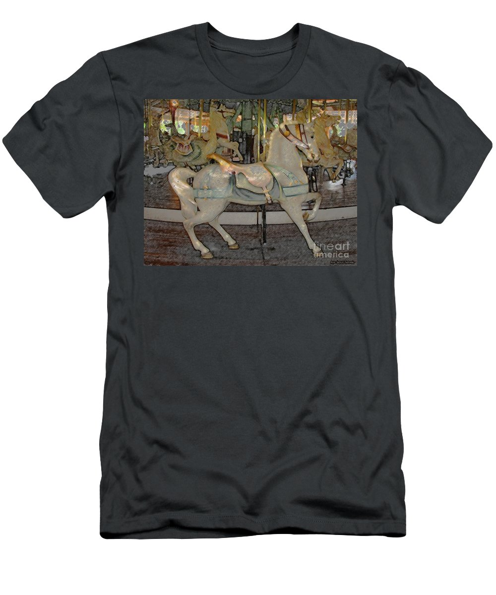 Horses Men's T-Shirt (Athletic Fit) featuring the photograph Antique Dentzel Menagerie Carousel Horse Colored Pencil Effect by Rose Santuci-Sofranko