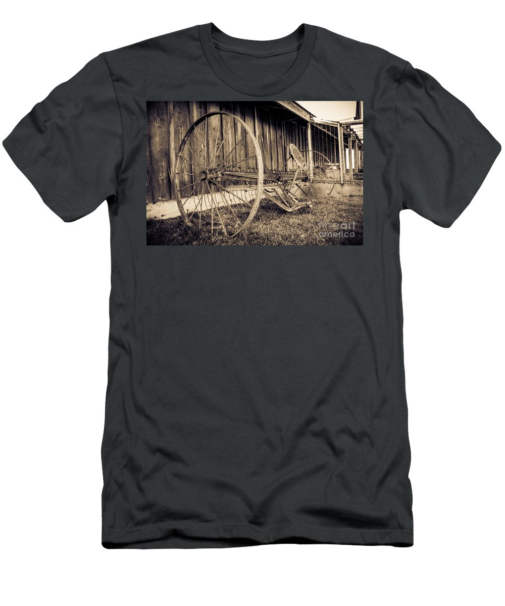 Art Men's T-Shirt (Athletic Fit) featuring the photograph Antique Hay Rake by Lucid Mood
