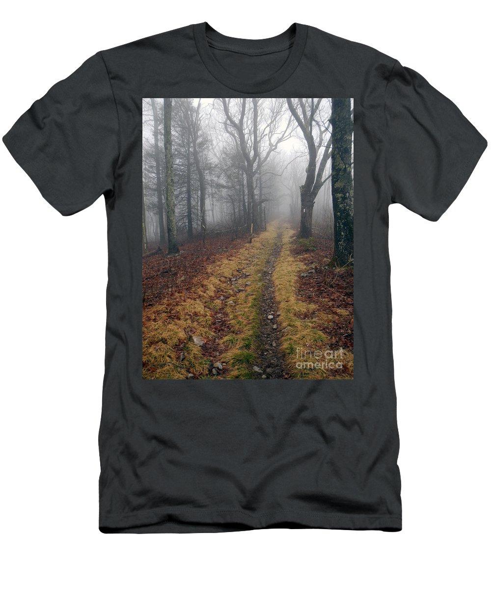 At Men's T-Shirt (Athletic Fit) featuring the photograph Appalachian Trail Fog by Glenn Gordon