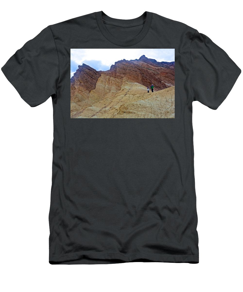 Approaching The Jagged Peaks Golden Canyon In Death Valley National Park Men's T-Shirt (Athletic Fit) featuring the photograph Approaching The Jagged Peaks In Golden Canyon In Death Valley National Park-california by Ruth Hager