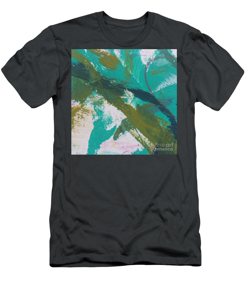 Aqua Men's T-Shirt (Athletic Fit) featuring the painting Aqua And Green by Robin Maria Pedrero