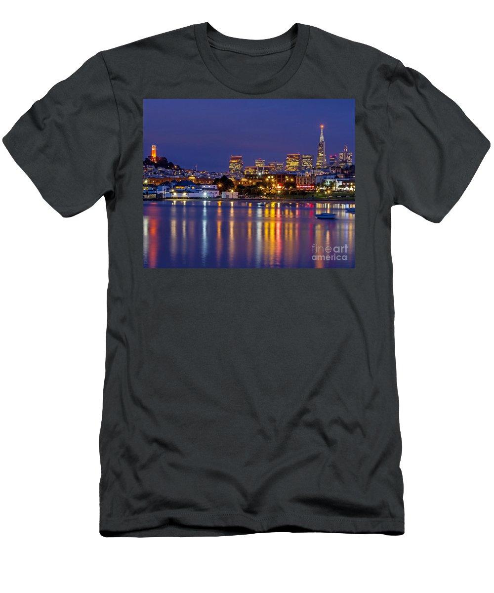 Aquatic Park Men's T-Shirt (Athletic Fit) featuring the photograph Aquatic Park Blue Hour by Kate Brown