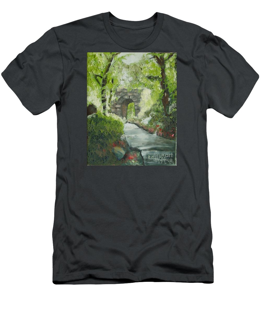 New York T-Shirt featuring the painting Archway in Central Park by Laurie Morgan