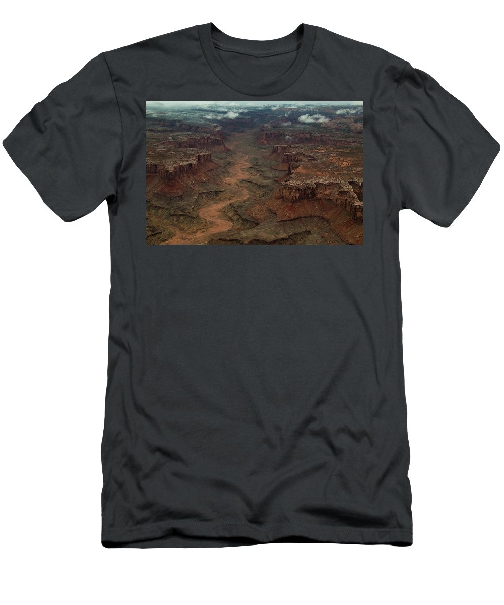Aerial View Men's T-Shirt (Athletic Fit) featuring the photograph Ariel Photograph During A Spring Storm by Jeremy Wade Shockley