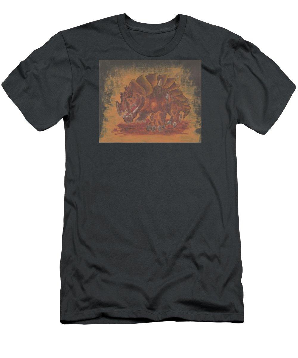 Fantasy Men's T-Shirt (Athletic Fit) featuring the painting Armored Beast by Jeffrey Oleniacz