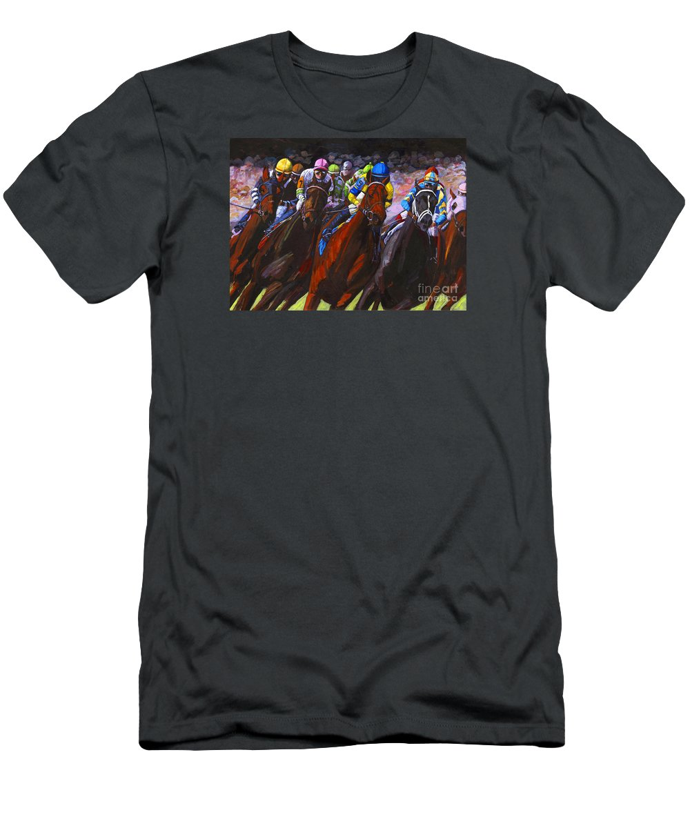 Horses Men's T-Shirt (Athletic Fit) featuring the painting Around The Turn They Come by Thomas Michael Meddaugh