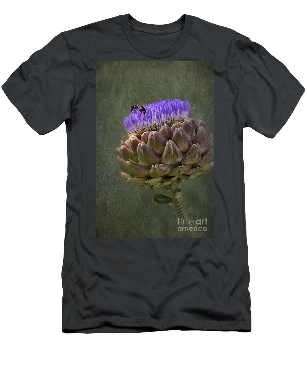 Bee Men's T-Shirt (Athletic Fit) featuring the photograph Artichoke Bloom And Bee Dip by Belinda Greb