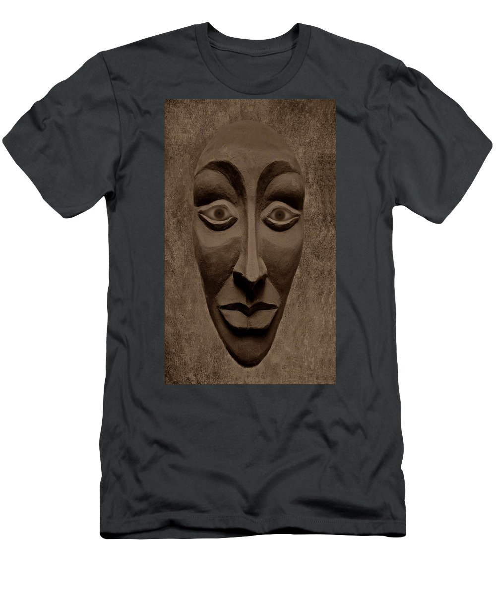 Mask Men's T-Shirt (Athletic Fit) featuring the photograph Artificial Intelligence Entity Sepia by David Dehner