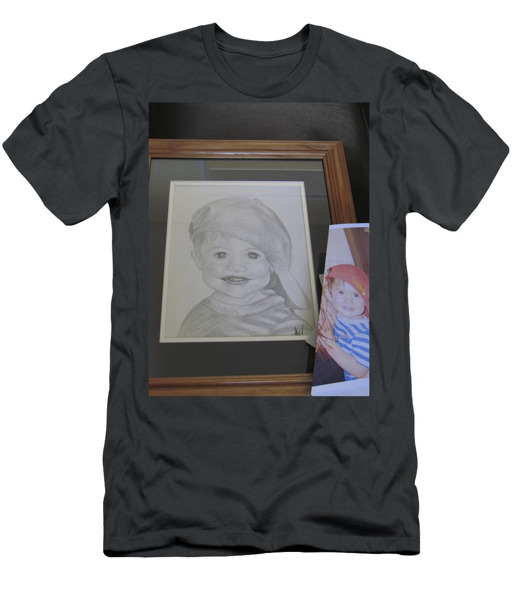 Portrait Men's T-Shirt (Athletic Fit) featuring the drawing Asher by Amanda Wisniewski