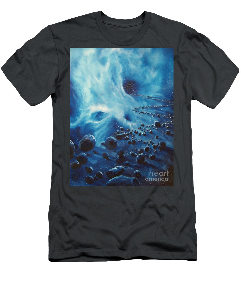Si-fi Men's T-Shirt (Athletic Fit) featuring the painting Asteroid River by Murphy Elliott