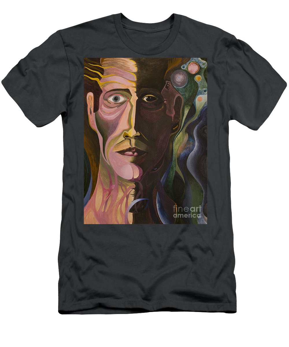 Portrait Men's T-Shirt (Athletic Fit) featuring the painting Astral Bender by Aaron Joslin