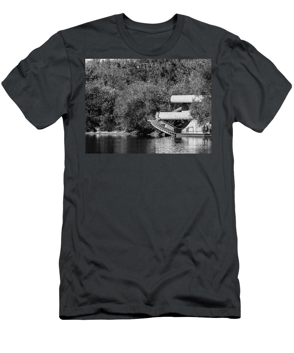 Black And White Men's T-Shirt (Athletic Fit) featuring the photograph At The Lake-35 by David Fabian