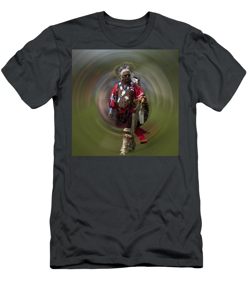Evie Men's T-Shirt (Athletic Fit) featuring the photograph At The Powwow Sault Ste Marie Michigan by Evie Carrier