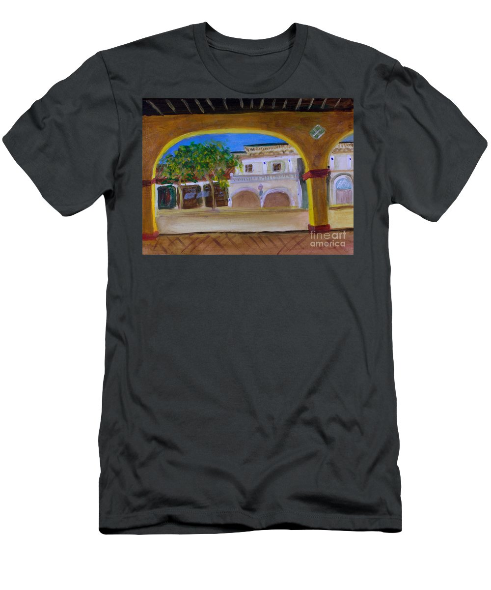 Architecture Men's T-Shirt (Athletic Fit) featuring the painting Atlantic Ave From The Shade Of Hands by Donna Walsh