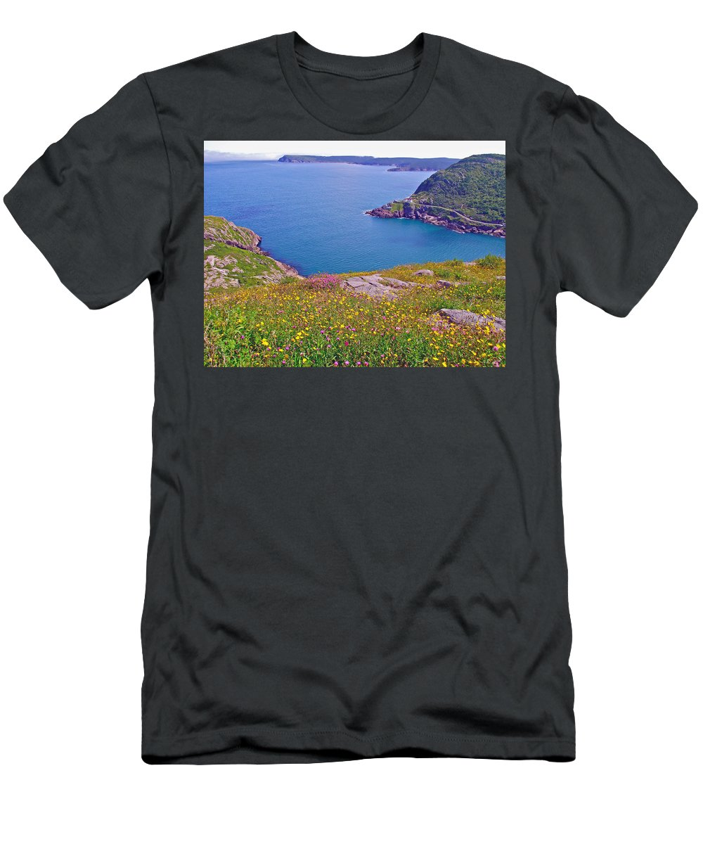 Atlantic Ocean From Signal Hill National Historic Site In Saint John's Men's T-Shirt (Athletic Fit) featuring the photograph Atlantic Ocean From Signal Hill National Historic Site In Saint John's-nl by Ruth Hager