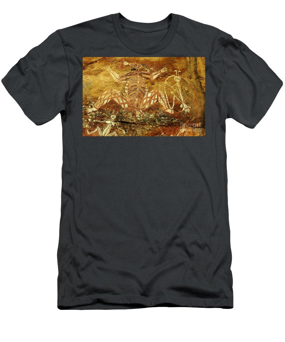 Indigenous Art Men's T-Shirt (Athletic Fit) featuring the photograph Australia Ancient Aboriginal Art 1 by Bob Christopher