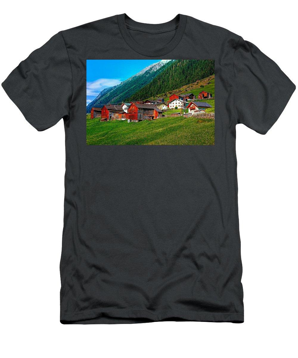 Austria Men's T-Shirt (Athletic Fit) featuring the photograph Austrian Village by Steve Harrington