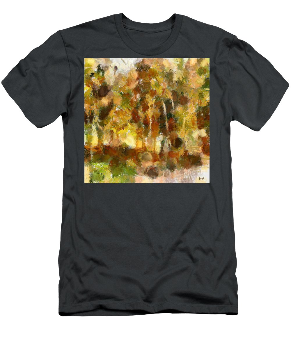 Autumn Abstract Men's T-Shirt (Athletic Fit) featuring the painting Autumn Impression 1 by Dragica Micki Fortuna
