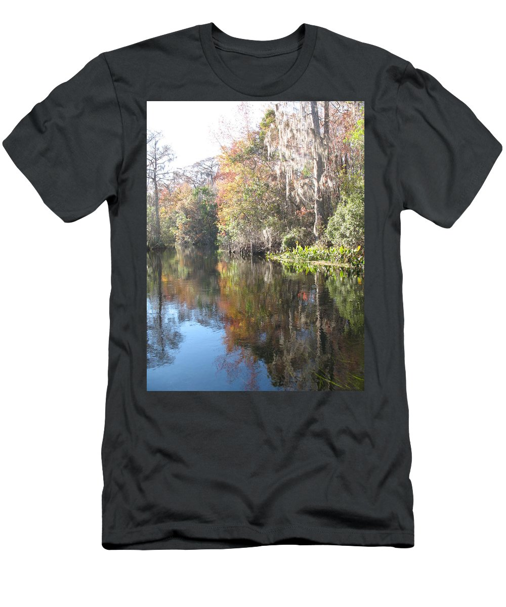 Swamp Men's T-Shirt (Athletic Fit) featuring the photograph Autumn In A Swamp by Christiane Schulze Art And Photography