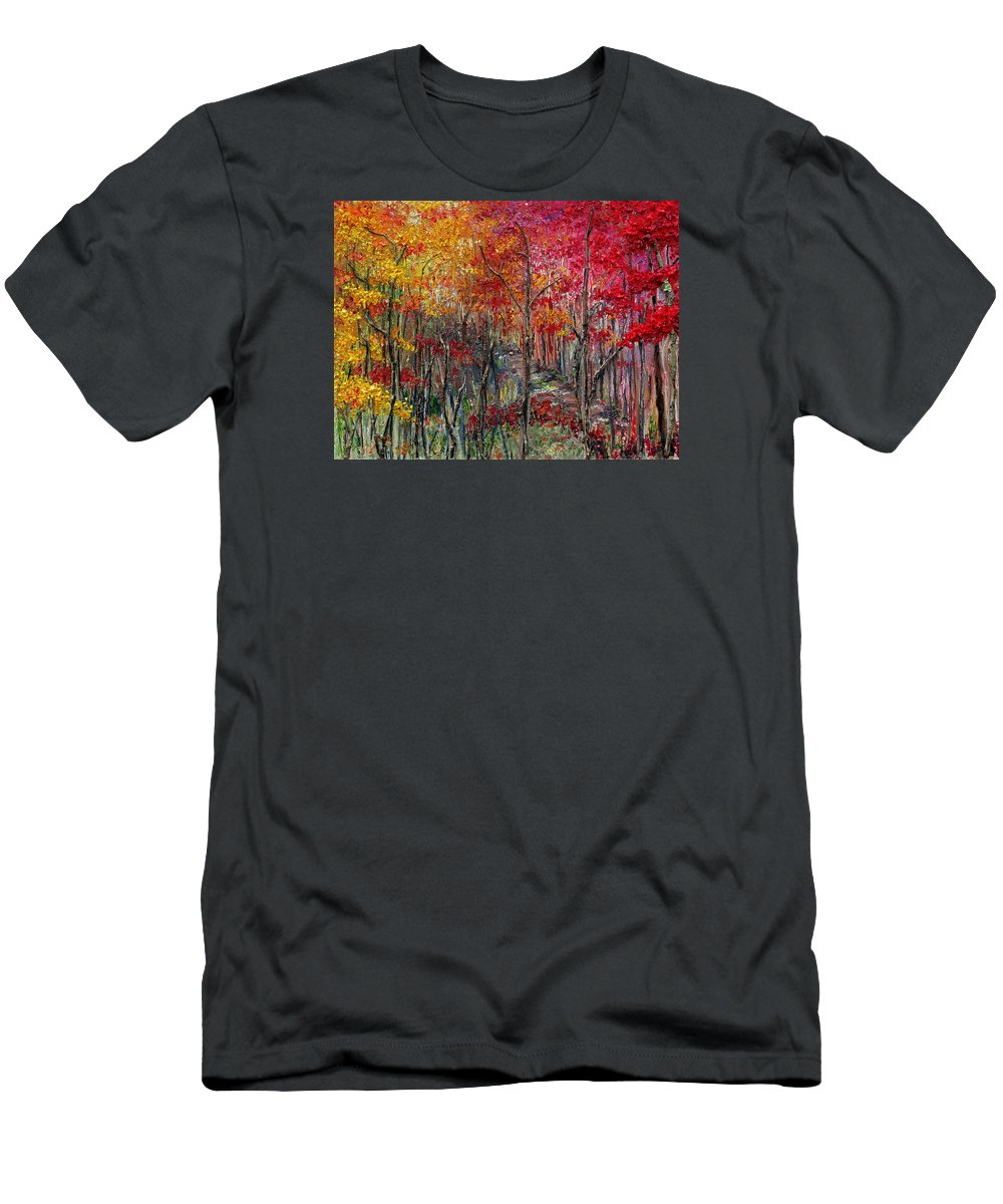 Autumn T-Shirt featuring the painting Autumn In The Woods by Karin Dawn Kelshall- Best