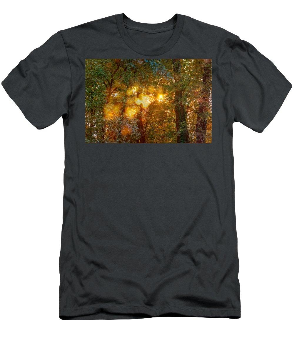 Autumn Men's T-Shirt (Athletic Fit) featuring the photograph Autumn Light Symphony by Alain De Maximy
