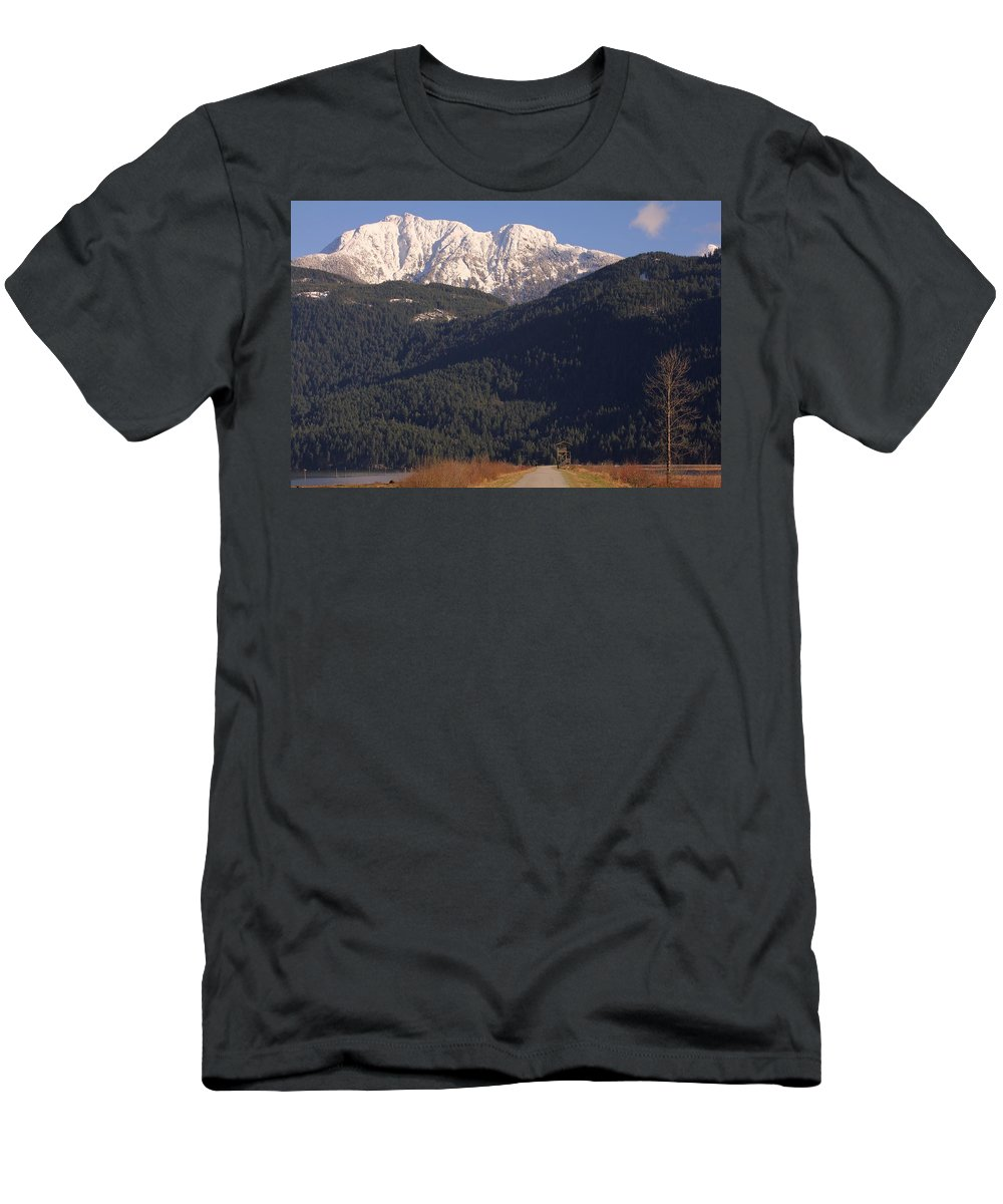 Mountain Men's T-Shirt (Athletic Fit) featuring the photograph Autumn Snowcapped Mountain - Golden Ears - British Columbia by Ian Mcadie