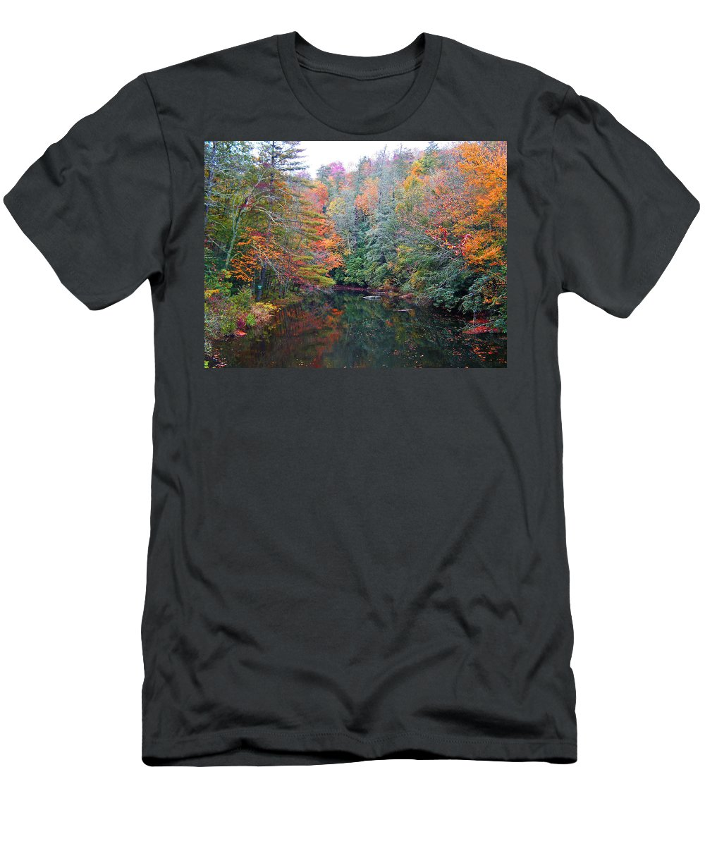 Autumn Men's T-Shirt (Athletic Fit) featuring the photograph Autumn Mountain Stream by Patricia Taylor