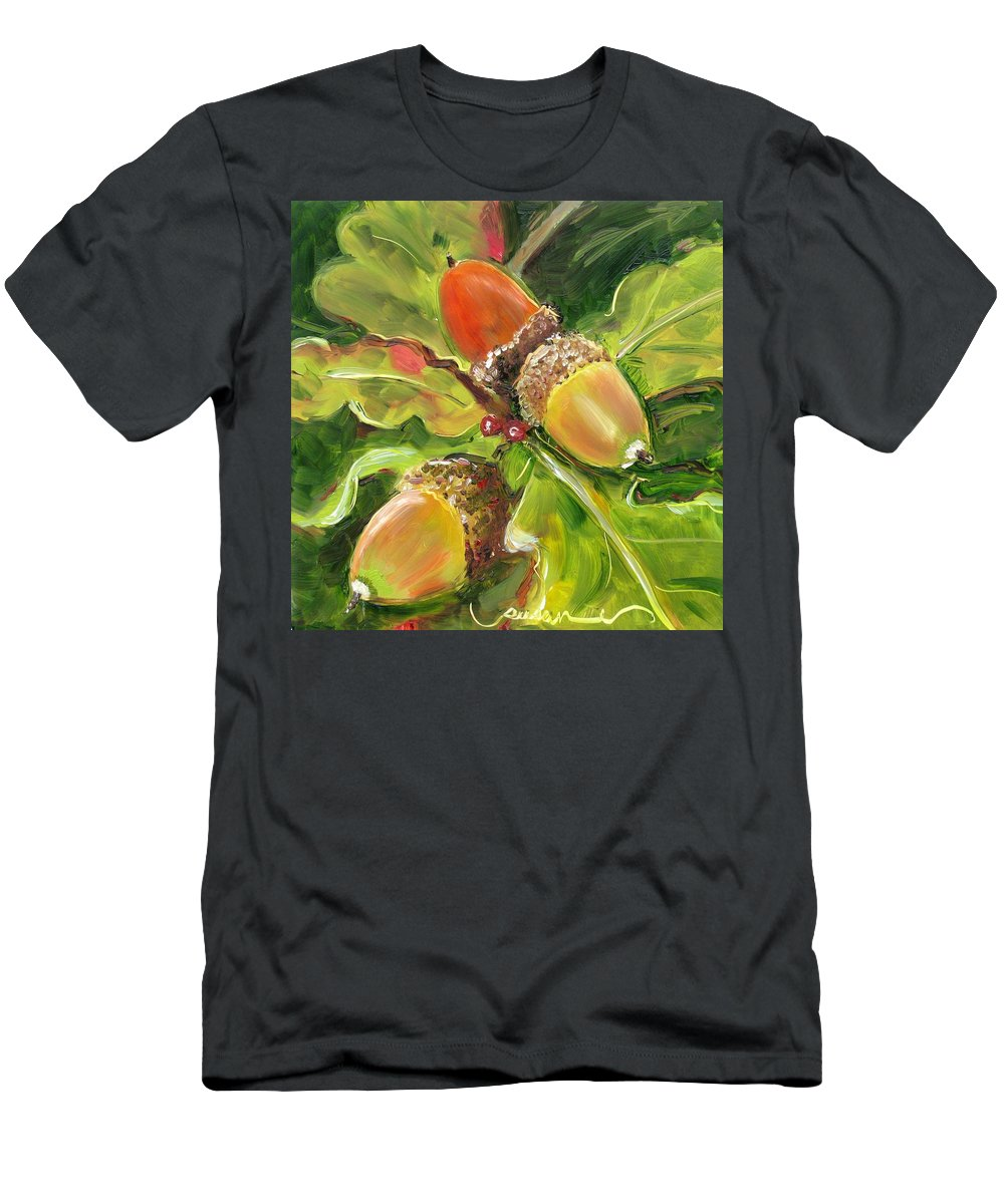 Flora Men's T-Shirt (Athletic Fit) featuring the painting Autumn Oak by Susan Elizabeth Jones