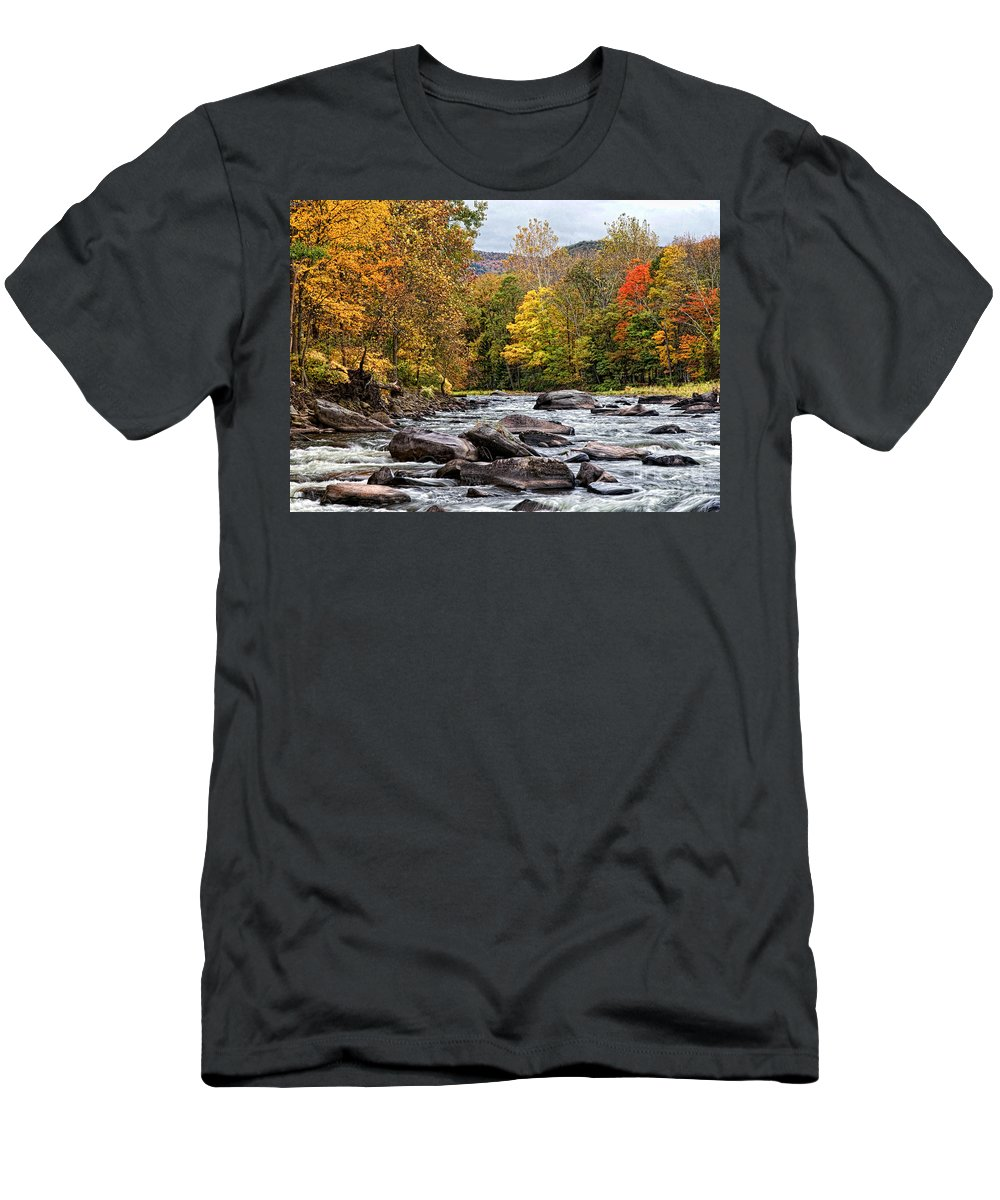 Fall Men's T-Shirt (Athletic Fit) featuring the photograph Autumn On The Esopus by Claudia Kuhn