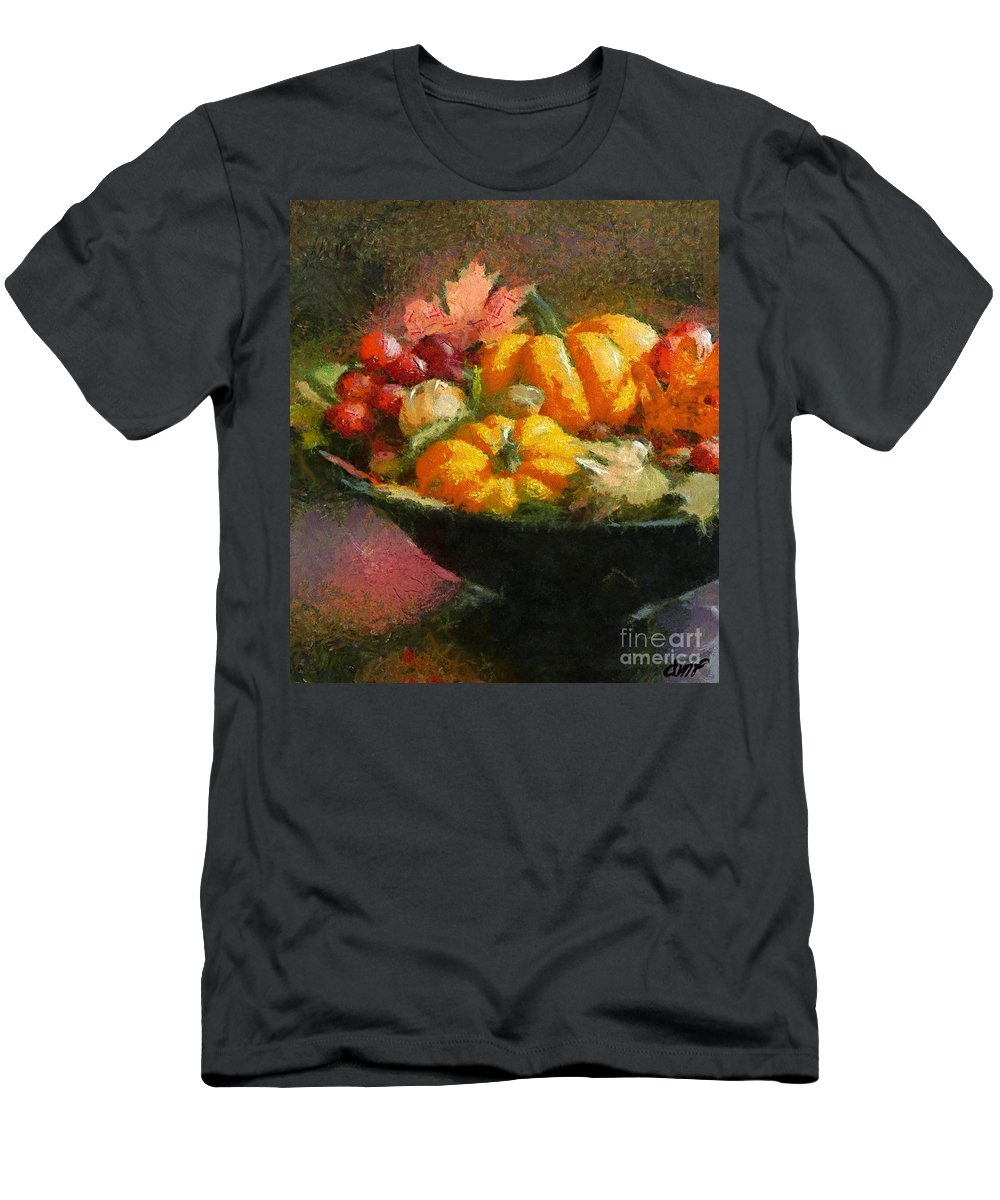 Autumn Men's T-Shirt (Athletic Fit) featuring the painting Autumn Pumpkins by Dragica Micki Fortuna