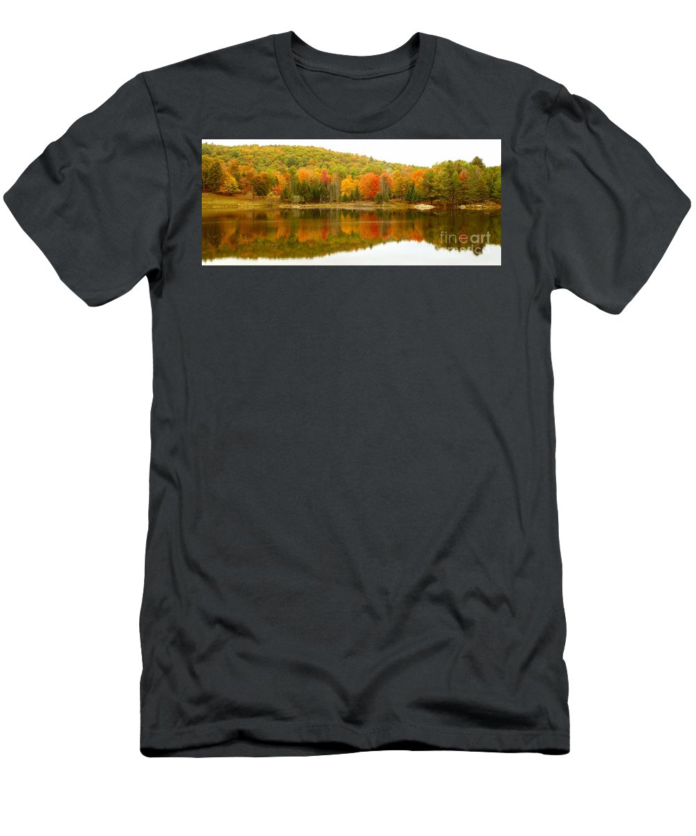 Vivid Men's T-Shirt (Athletic Fit) featuring the photograph Autumn Reflection Panoramic View by Vicki Spindler