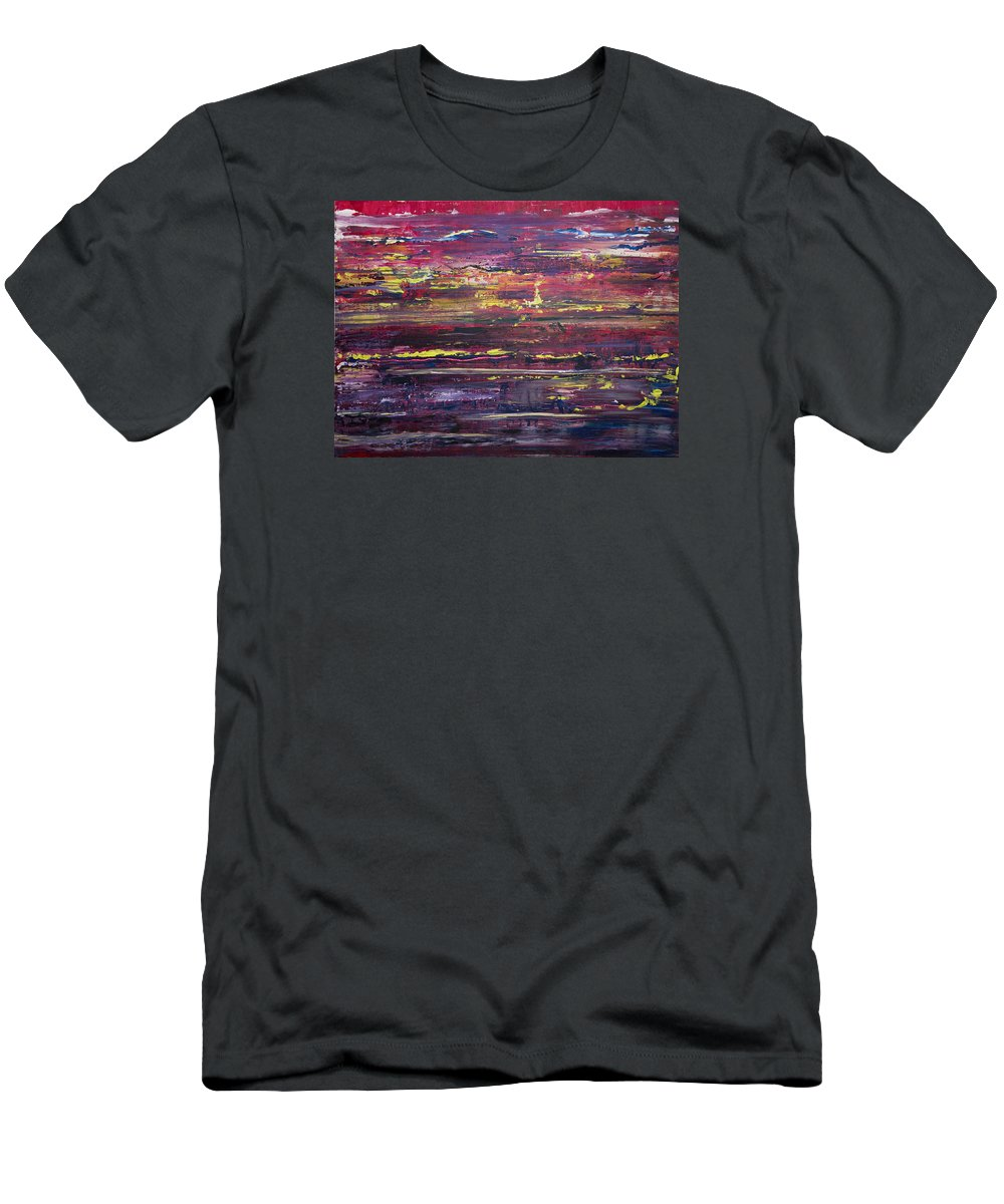 Sunset Men's T-Shirt (Athletic Fit) featuring the painting Autumn Sunset Along I-70 by Laura Evans