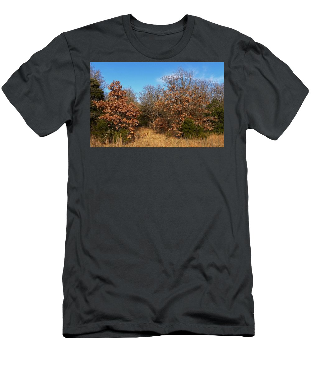 Autumn Men's T-Shirt (Athletic Fit) featuring the photograph Autumn Woods by Annie Adkins