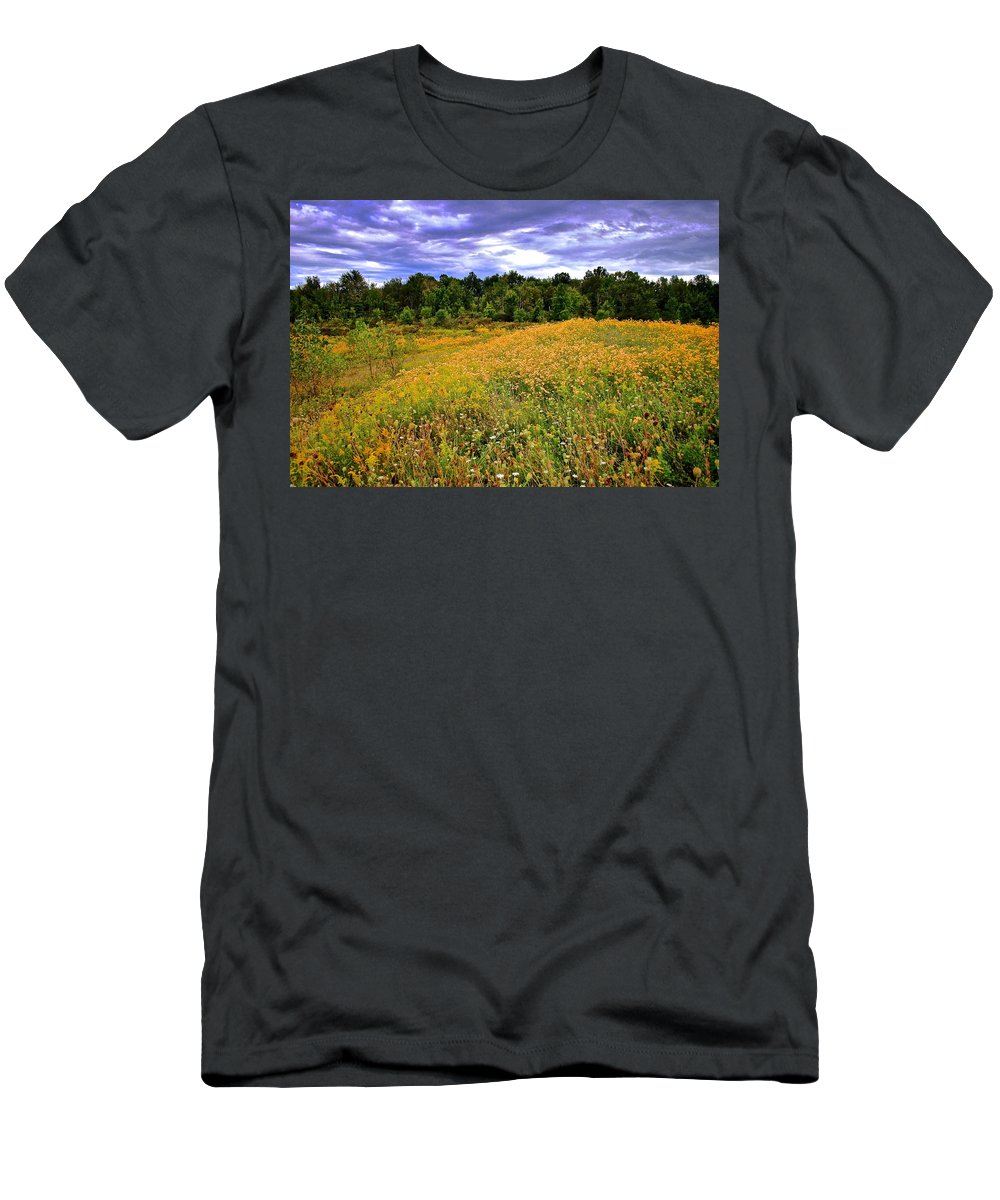 Hdr Men's T-Shirt (Athletic Fit) featuring the photograph Autumns Brilliance Hdr by Frozen in Time Fine Art Photography