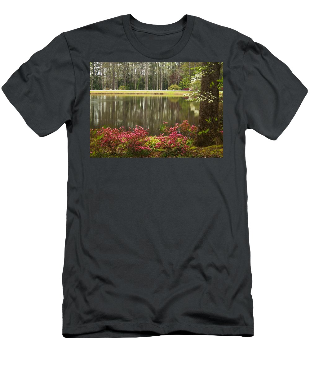 Callaway Gardens Men's T-Shirt (Athletic Fit) featuring the photograph Azaleas And Reflection Pond by Kathy Clark