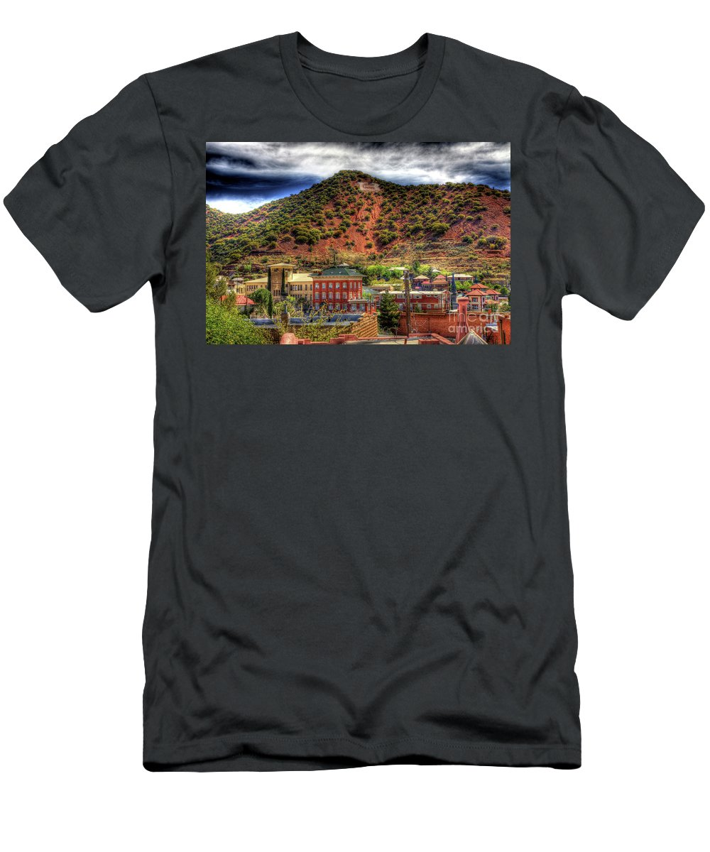 B Men's T-Shirt (Athletic Fit) featuring the photograph B Hill Over Historic Bisbee by Charlene Mitchell