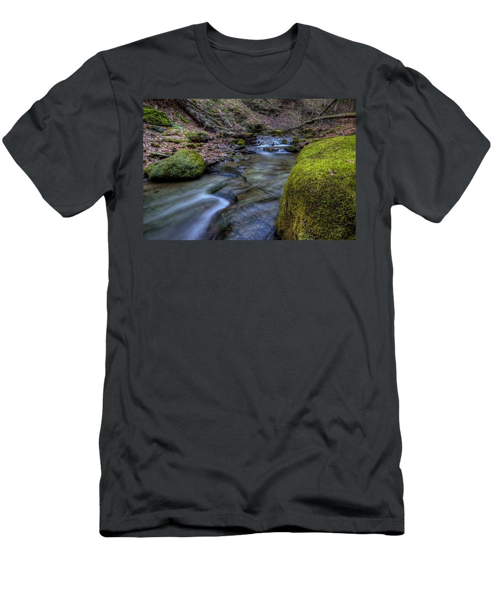 Brook Men's T-Shirt (Athletic Fit) featuring the photograph Babbling Brook by David Dufresne