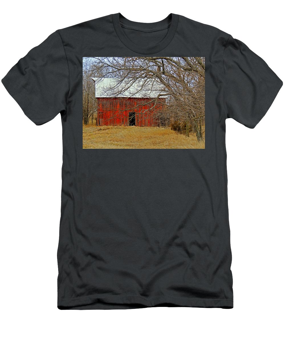 Barn Men's T-Shirt (Athletic Fit) featuring the photograph Back In The Woods by Lynn Sprowl