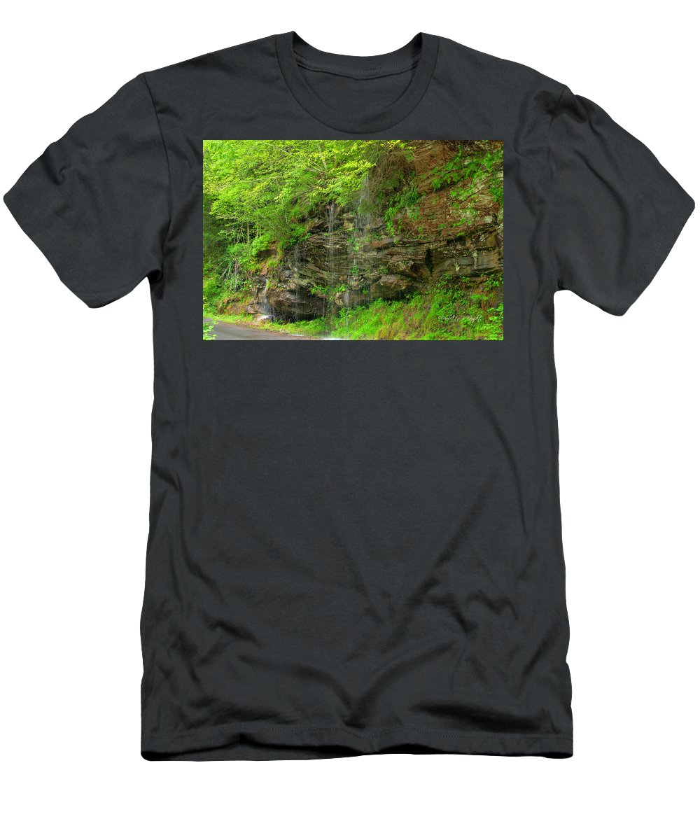 Feature Art Men's T-Shirt (Athletic Fit) featuring the photograph Backroads Waterfall In West Virginia by Paulette B Wright