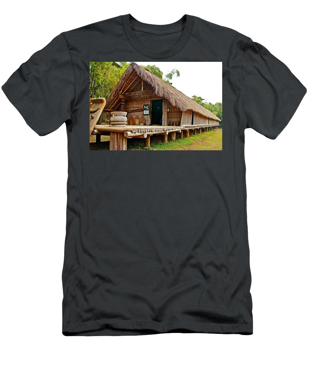 Bahnar Home With Extension As Family Grows At Museum Of Ethnology In Hanoi Men's T-Shirt (Athletic Fit) featuring the photograph Bahnar Home With Extension As Family Grows At Museum Of Ethnology In Hanoi-vietnam by Ruth Hager