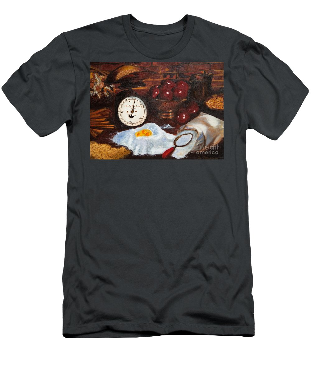 Baking Apple Pie Men's T-Shirt (Athletic Fit) featuring the painting Baking From Scratch by Iris Richardson