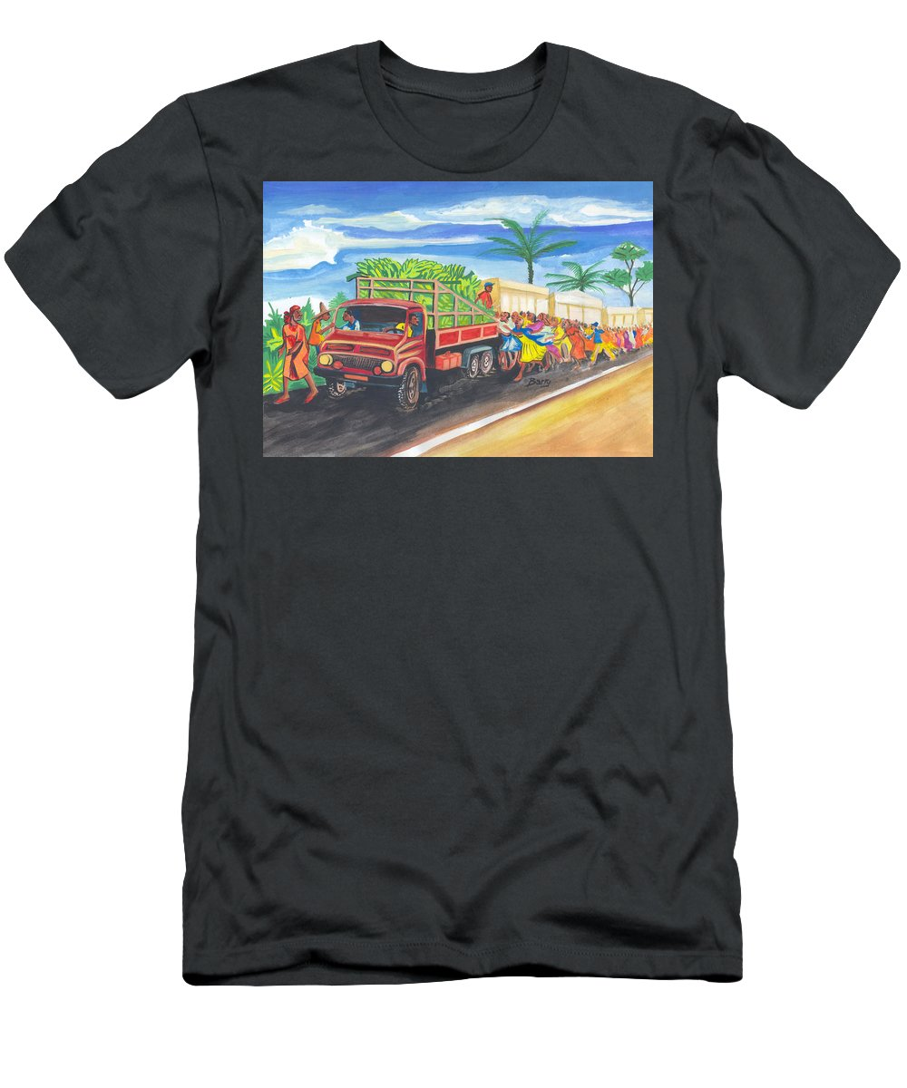 Impressionism Men's T-Shirt (Athletic Fit) featuring the painting Banana Delivery In Cameroon 02 by Emmanuel Baliyanga