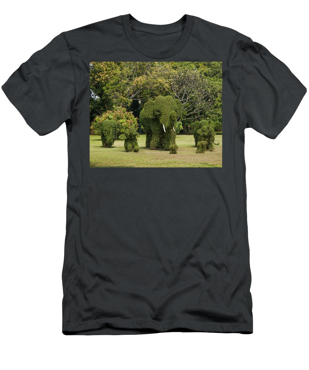 Bangkok Men's T-Shirt (Athletic Fit) featuring the photograph Bang Pa-in Royal Palace Elephant Topiary Dtha0116 by Gerry Gantt