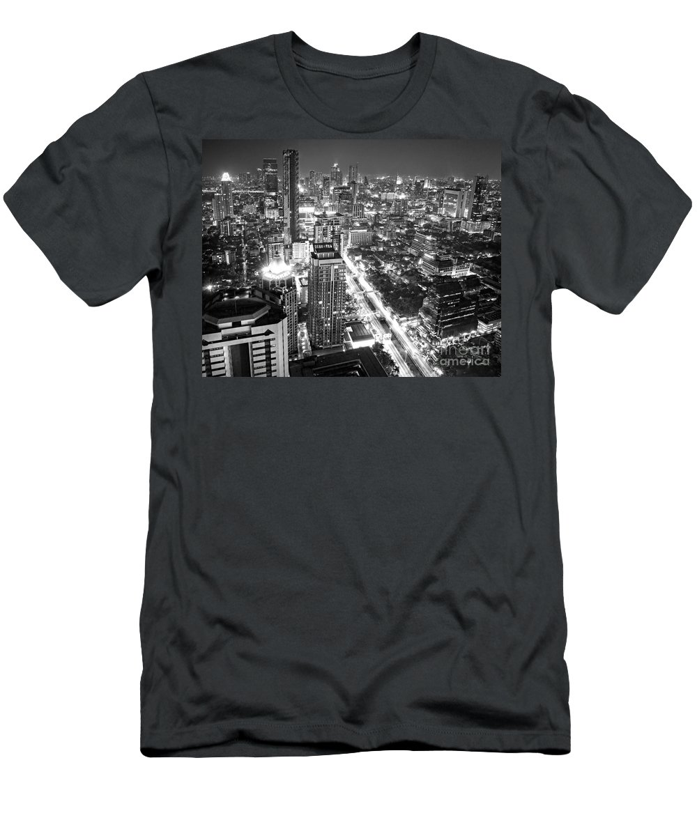Amasing Men's T-Shirt (Athletic Fit) featuring the photograph Bangkok Skyline 1 - Thailand by Luciano Mortula
