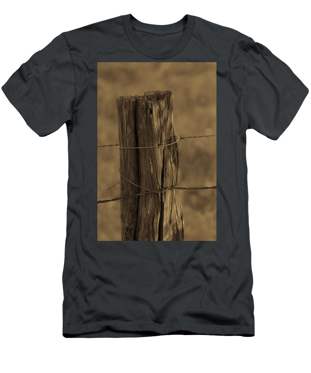 Barbed Fence Post Men's T-Shirt (Athletic Fit) featuring the photograph Barbed by Bobby Eddins