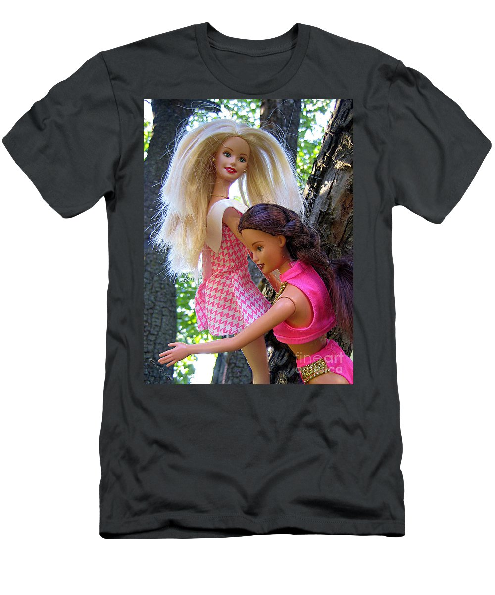 Barbie Men's T-Shirt (Athletic Fit) featuring the photograph Barbie's Climbing Trees by Nina Silver